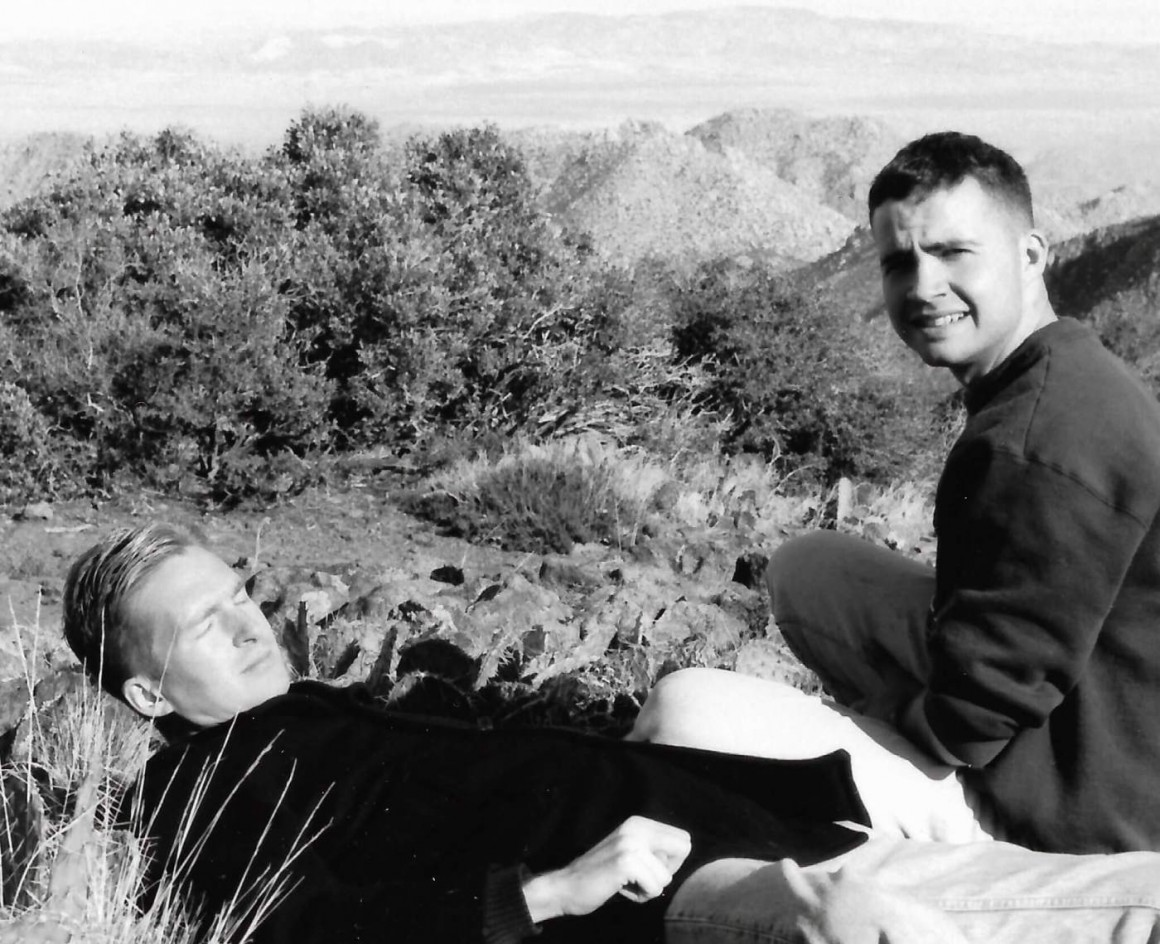 Steven Zeeland playing dead amongst the cacti with Jay, east of San Diego – some years before meeting Cunanan